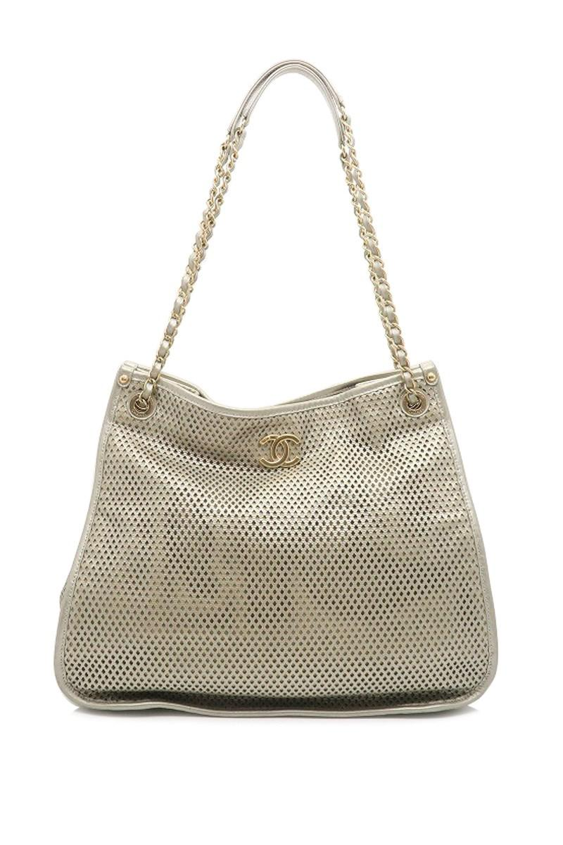 4302d525f6d Lyst - Chanel Quilted Calfskin Leather Chain Perforated Shoulder Bag ...