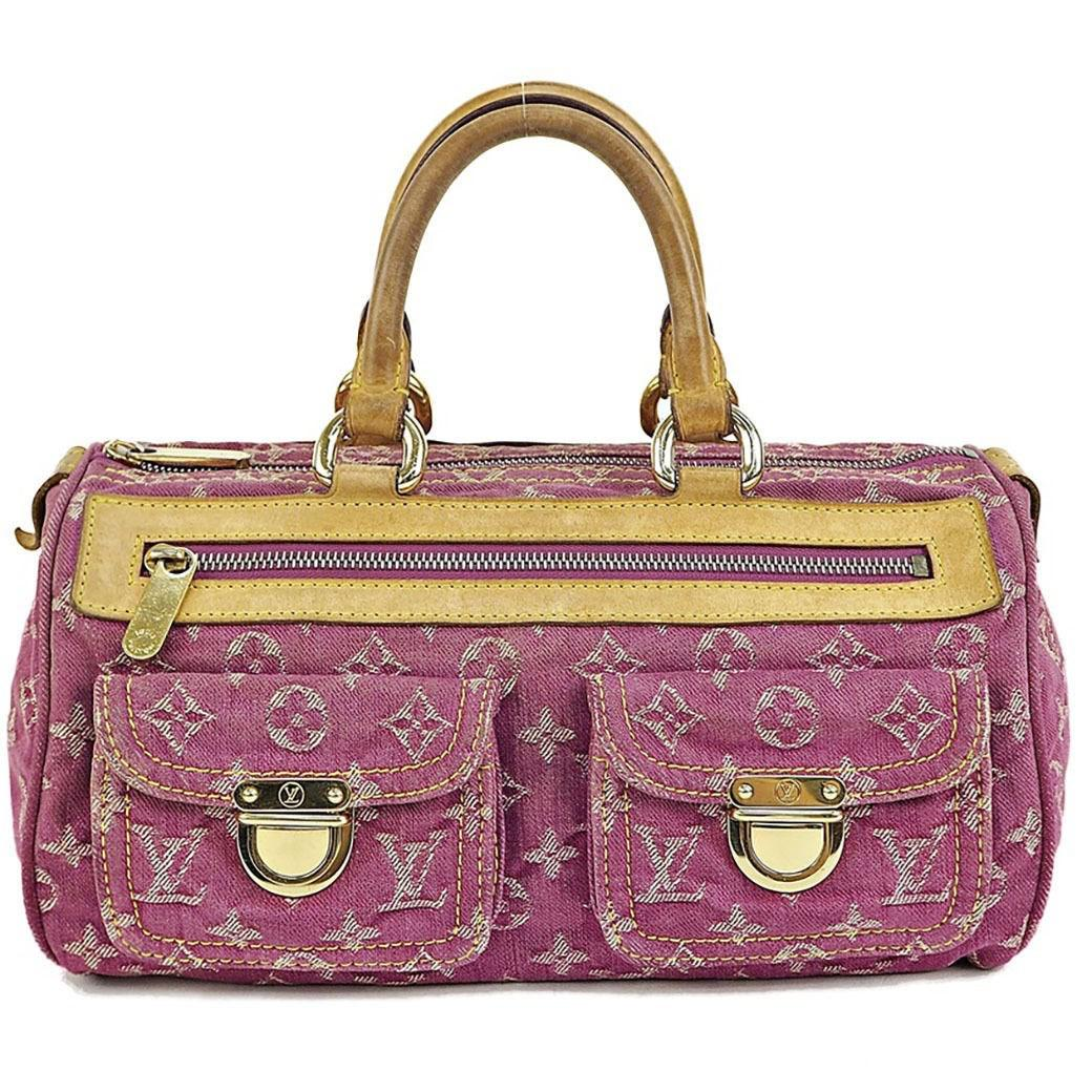 122ca8d853cd Lyst - Louis Vuitton Handbag Neo Speedy Monogram Denim Fuschia Pink ...