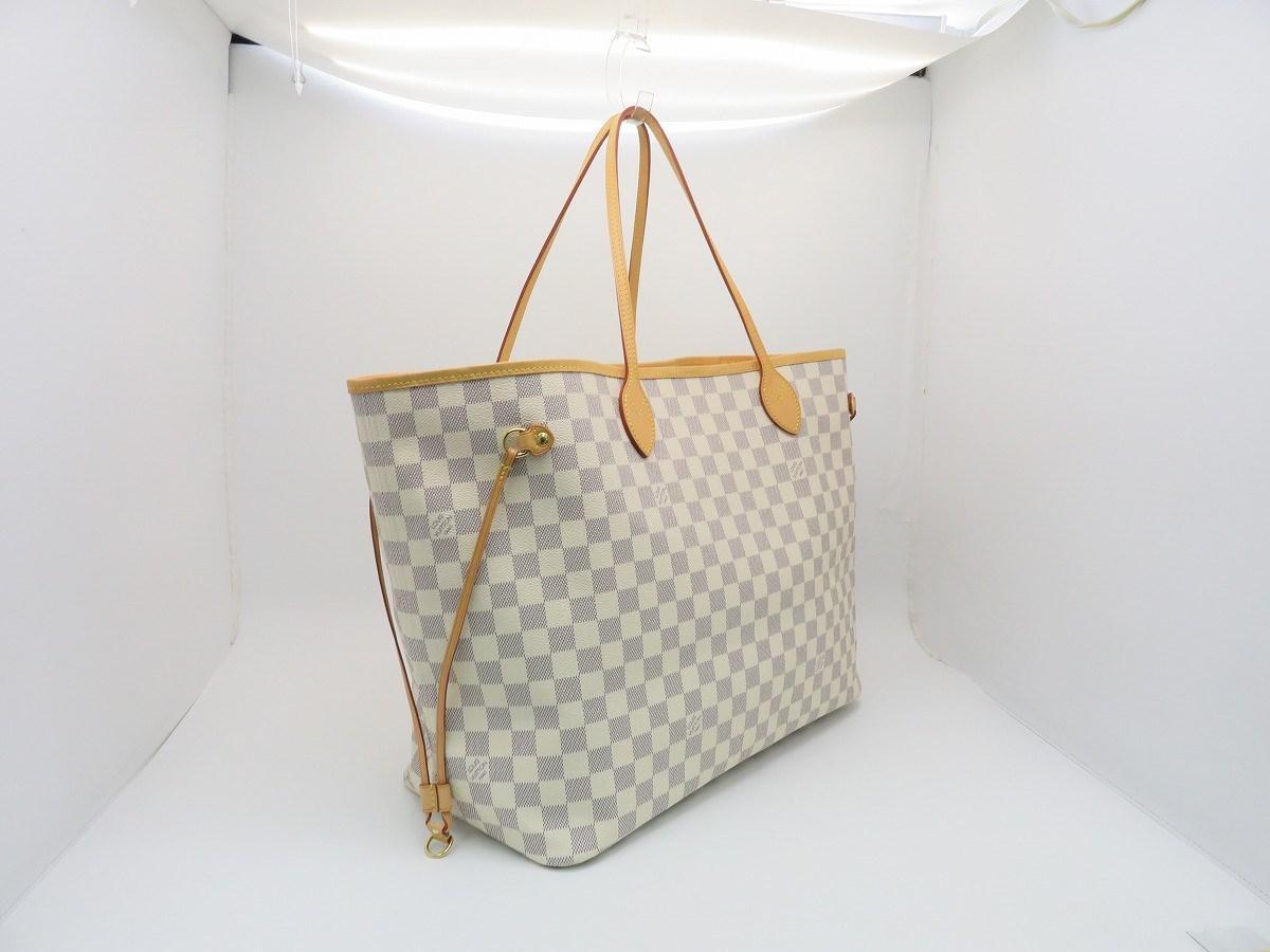 17b9ac48febd Louis Vuitton Neverfull Gm Shoulder Bag Damier Azur White N41360 ...