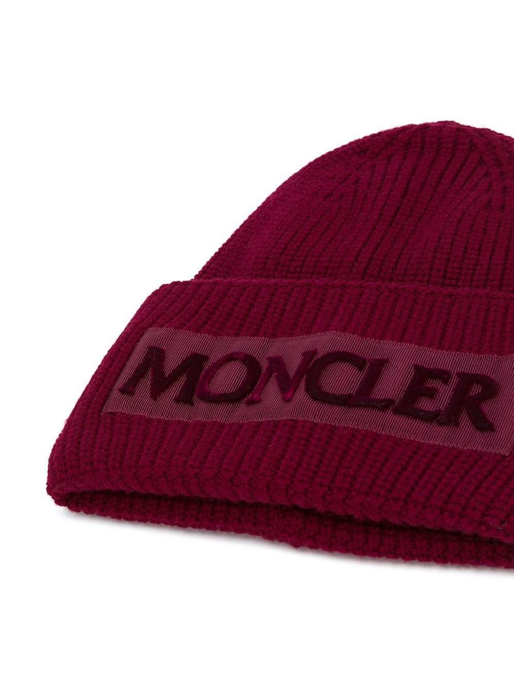 Lyst - Moncler Women s 9960500979c4459 Burgundy Wool Hat in Red 740549695d1b