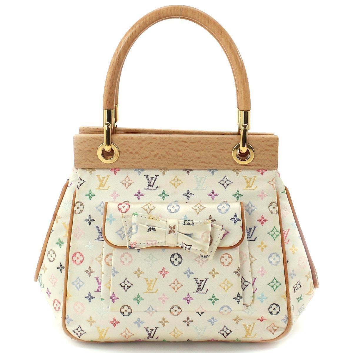 Louis Vuitton Abelia White Multicolor Mini Monogram Satin Handbag 3hnuVA