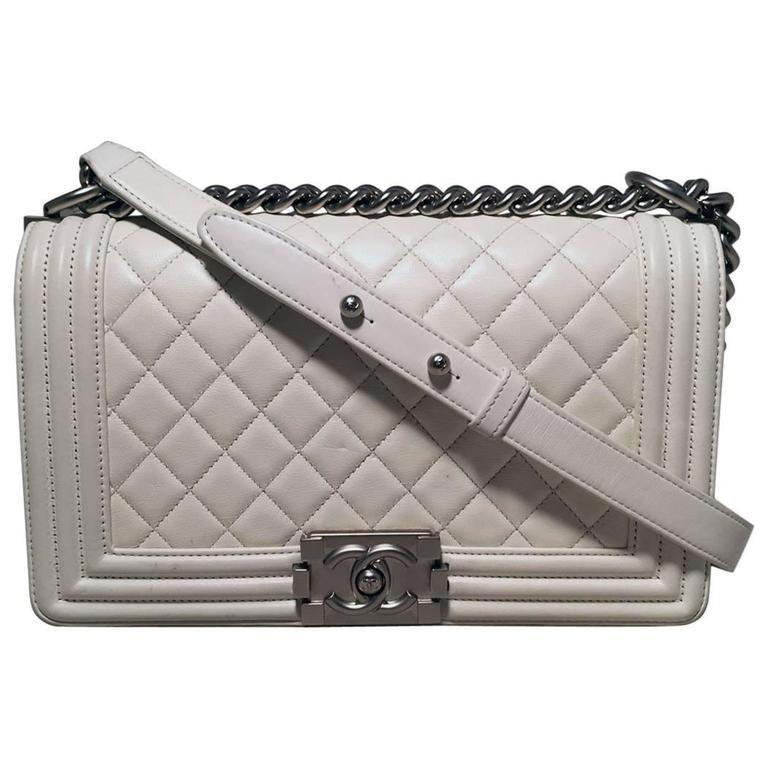 bdd0ad36dcb1 Chanel White Quilted Le Boy Classic Flap Shoulder Bag in White - Lyst