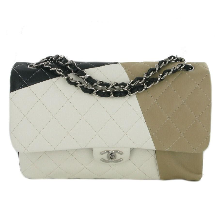 ced812eb0112f9 Chanel Tricolor Jumbo Double Flap Bag In Quilted Lambskin Leather - Lyst
