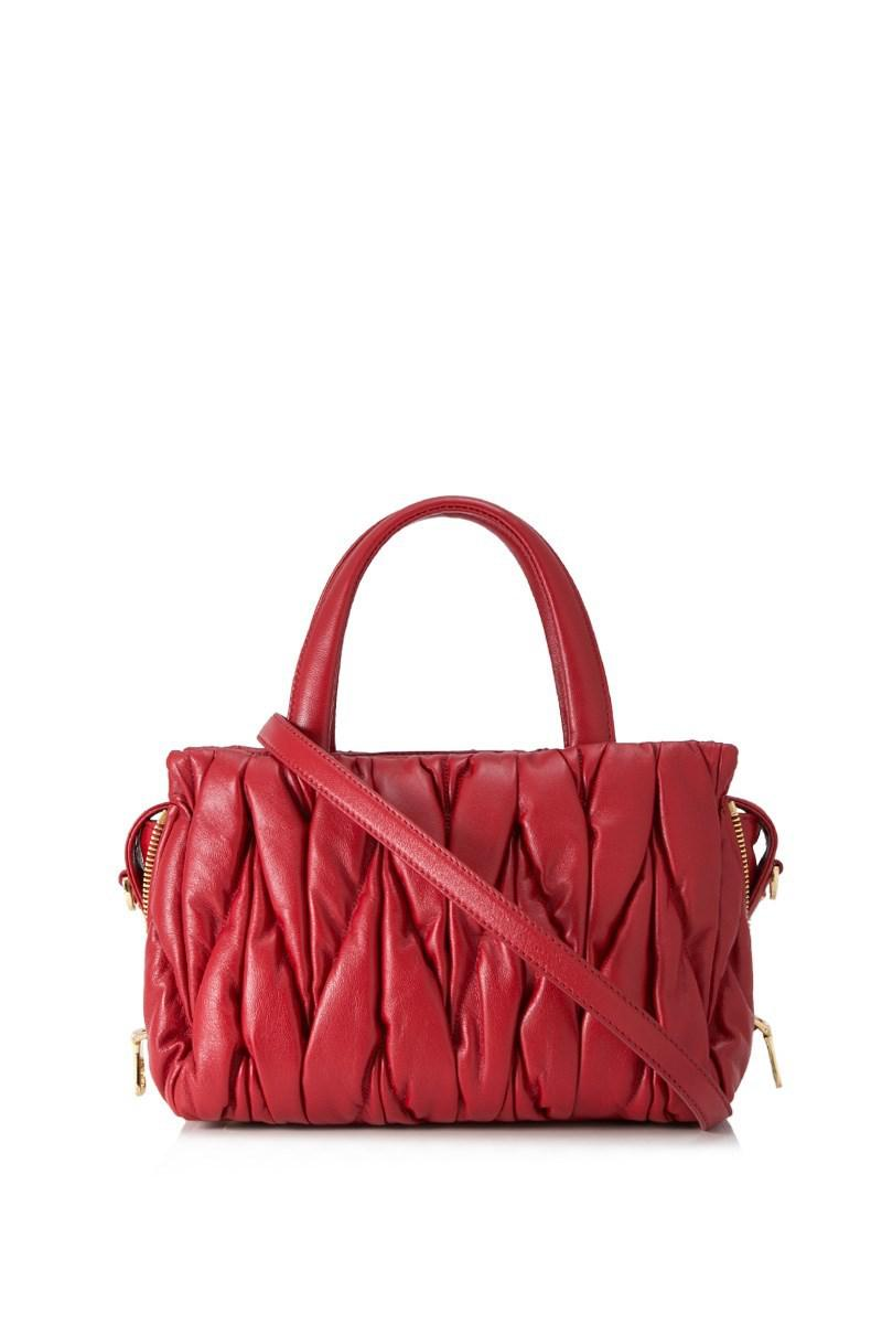 94a4dc97f58 Lyst - Miu Miu Matelasse Top Handle Bag in Red