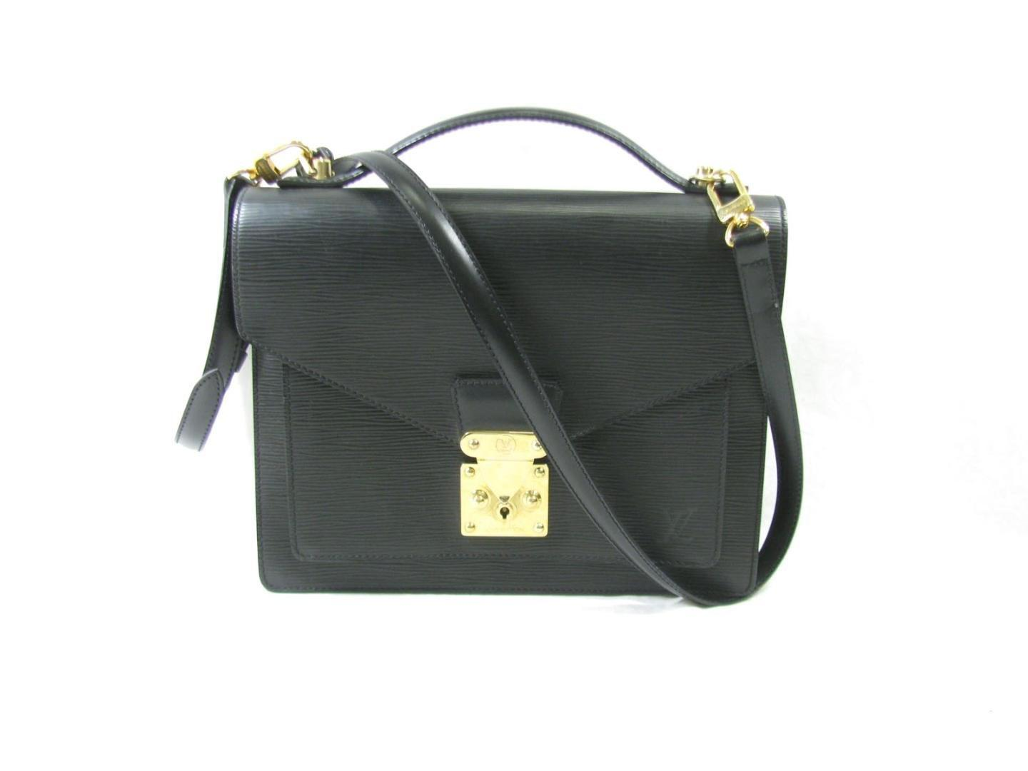 646b44e28c1f Lyst - Louis Vuitton Monceau Handbag Briefcase Epi Black M52122 in Black