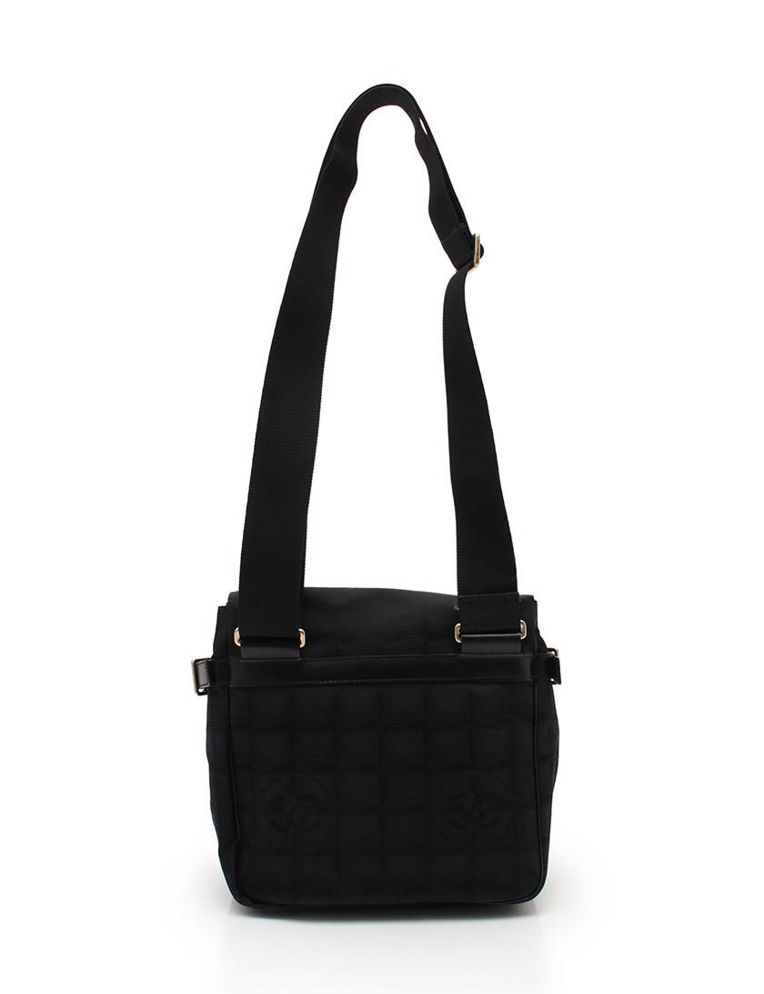 f8f36be6bd69 Chanel New Travel Line Shoulder Bag Nylon Canvas Black in Black - Lyst