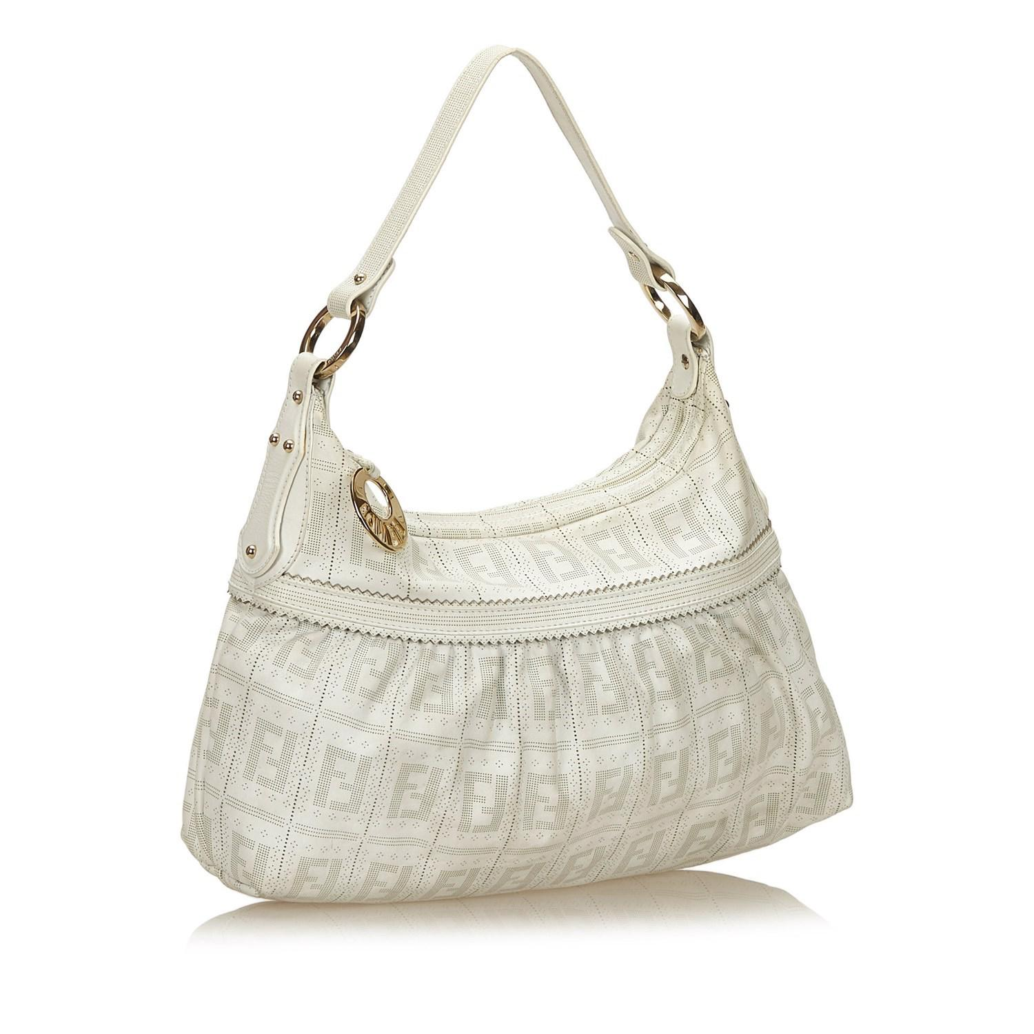 c50dc1cda20a Lyst - Fendi Zucca Perforated Jacquard Chef Bag in White