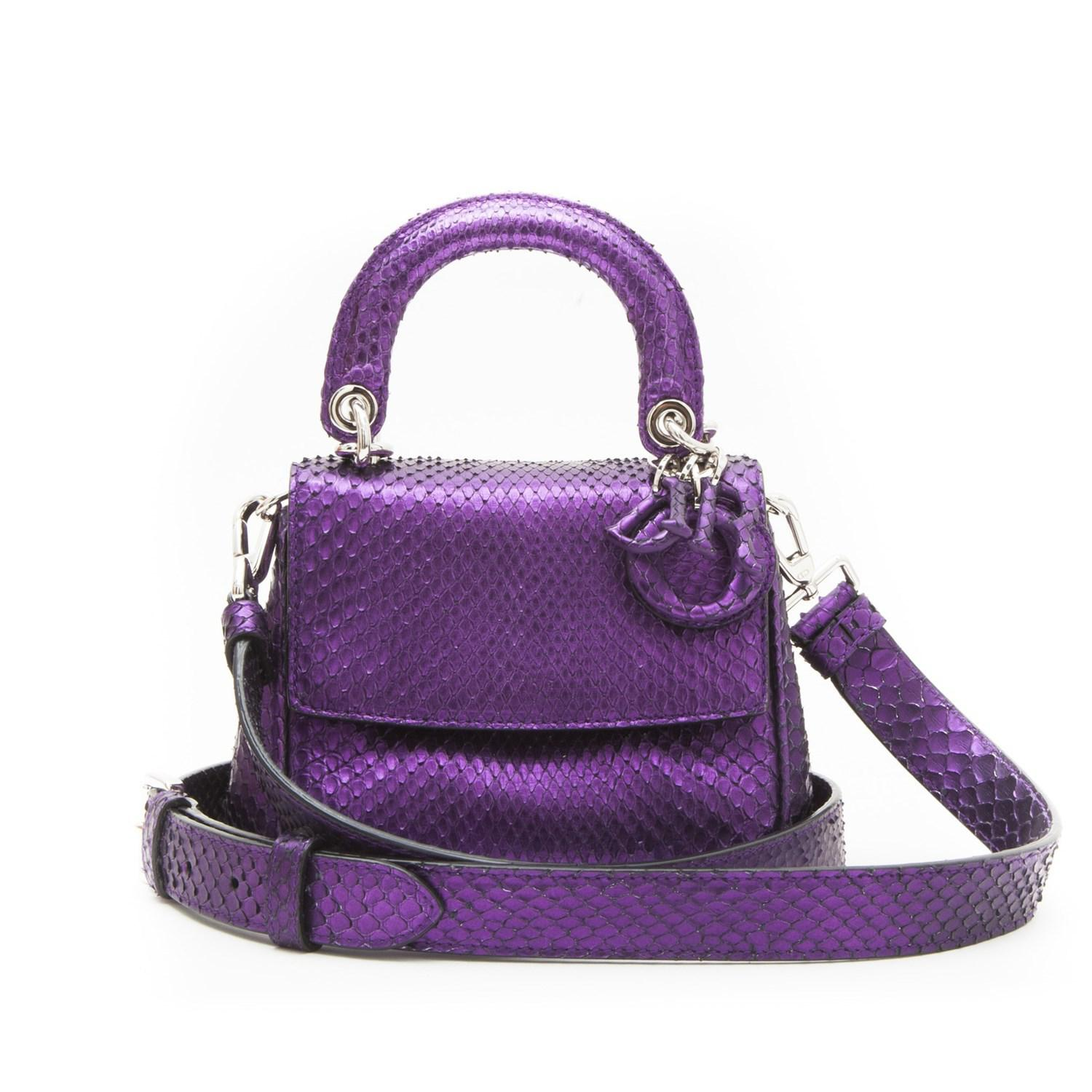 19be8334af5 Lyst - Dior Christian Double Flap Bag In Metallic Purple Python ...