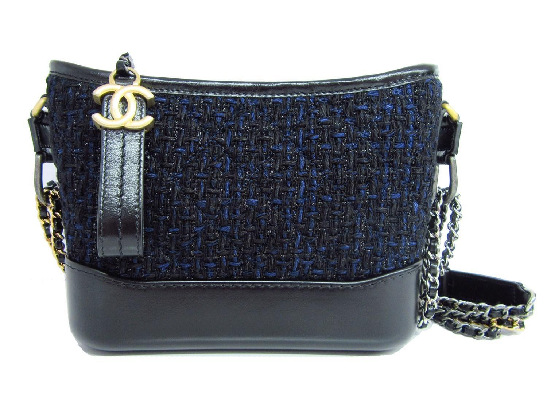 9bbc3955a249 Lyst - Chanel Gabrielle Small Hobo Bag Shoulder Hand Bag Tweed Black ...