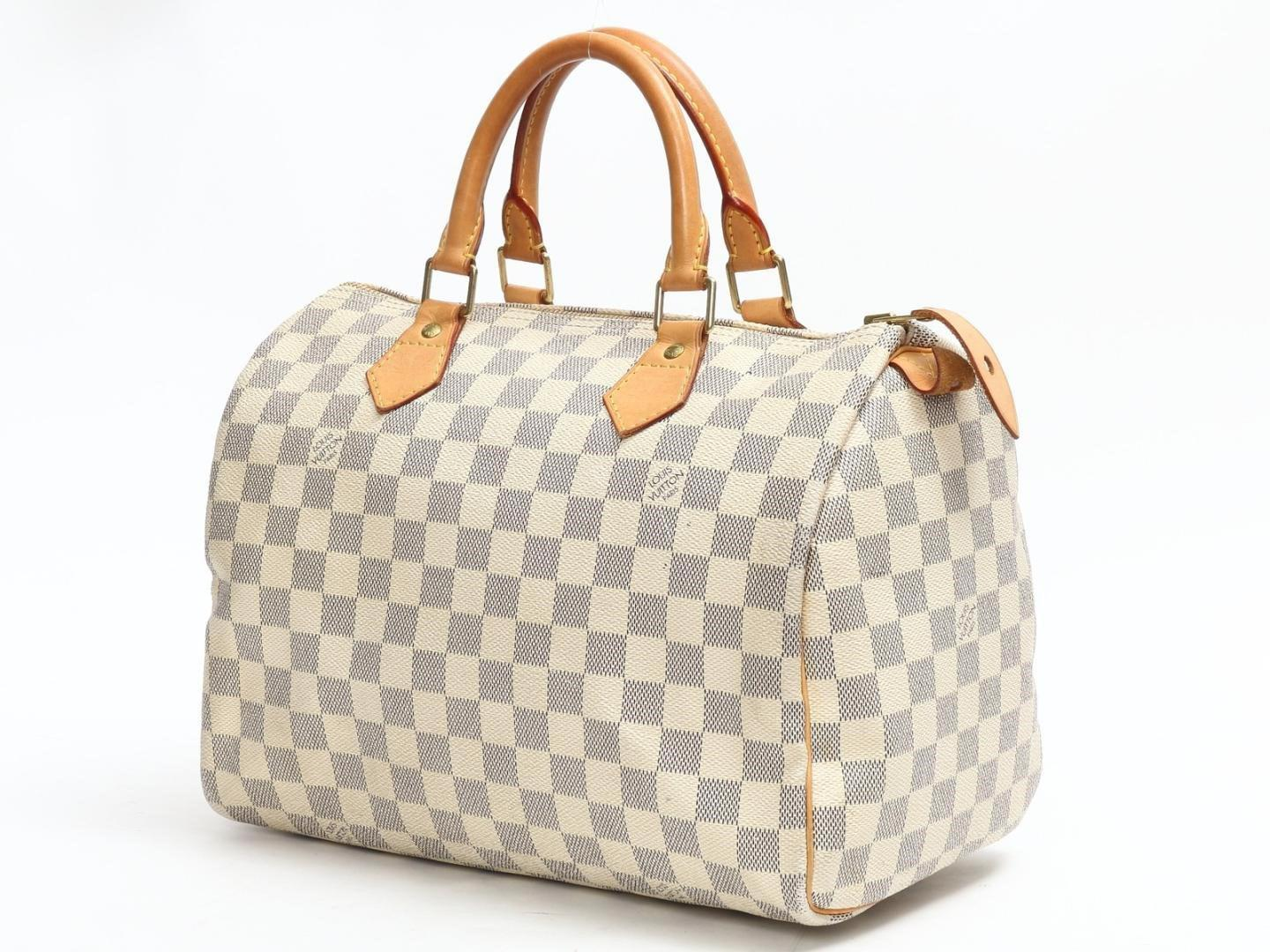 a52a8c03cffb Lyst - Louis Vuitton Speedy 30 Handbag Damier Azur N41533 in White