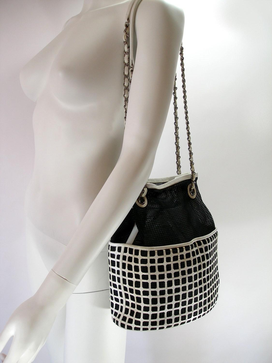 7958b07bf5ea98 Chanel Edition Limited White Leather And Mesh Black Fabric Bucket ...