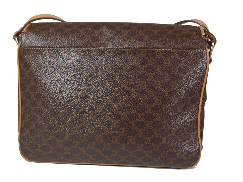 fc860685c9ff Lyst - Céline Authentic Macadam Pvc Canvas Leather Brown Shoulder ...