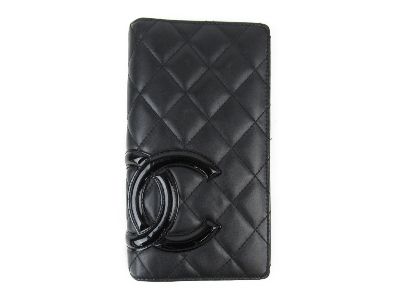 e0e81f48e872 Lyst - Chanel Cambon Ligne Zip Wallet Calf Leather Black in Black