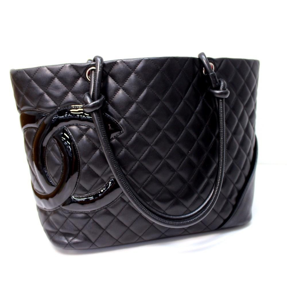 0e79eb65bd27a Lyst - Chanel Cambon Line Large Tote Shoulder Bag Black Calf Leather ...