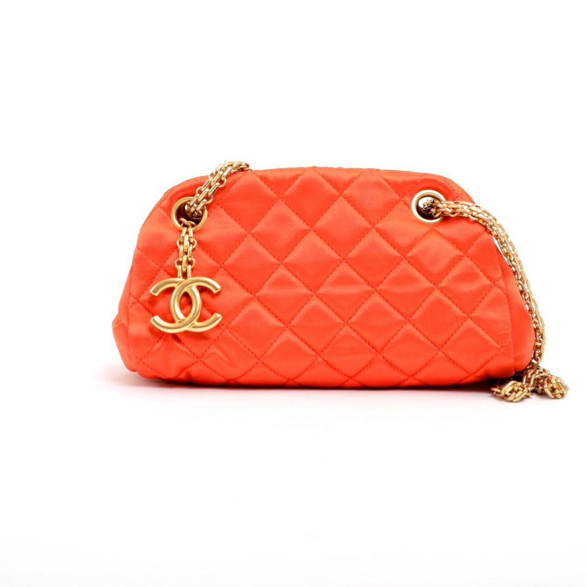 a2ea06e923db5a Chanel Satin Mini Bowling Bag Mademoiselle Shoulder Bag in Orange - Lyst