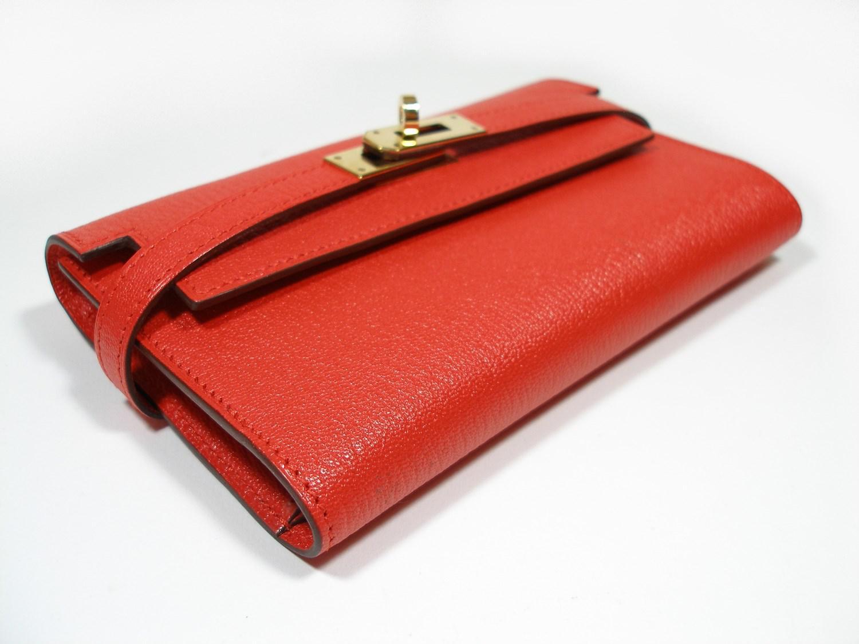 9a070542cde9 Lyst - Hermès Hermès Kelly Compact Wallet Chevre Mysore Leather ...