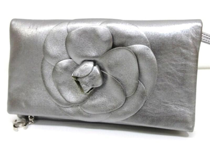 2633c9baec Lyst - Chanel Camellia Clutch Bag Leather Metallic Light Gray Based ...