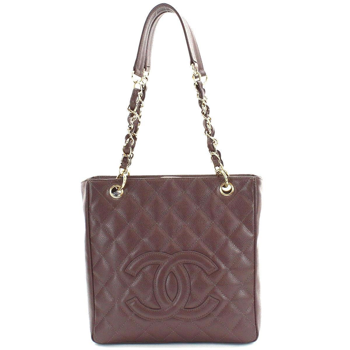 22dbdf19483db8 Chanel Caviar Skin Pst Chain Tote Bag Brown Purse Cc A50994 90046031 ...