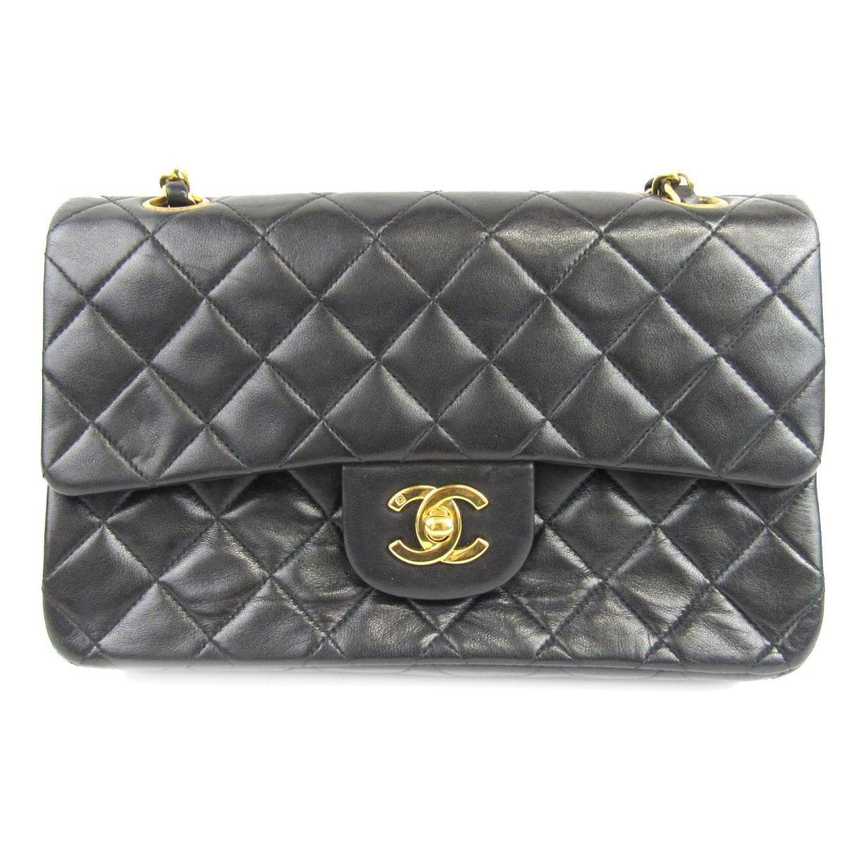 367ef1e6ddb6 Chanel Matelasse W Flap Chain Shoulder Bag Lambskin Leather Black ...