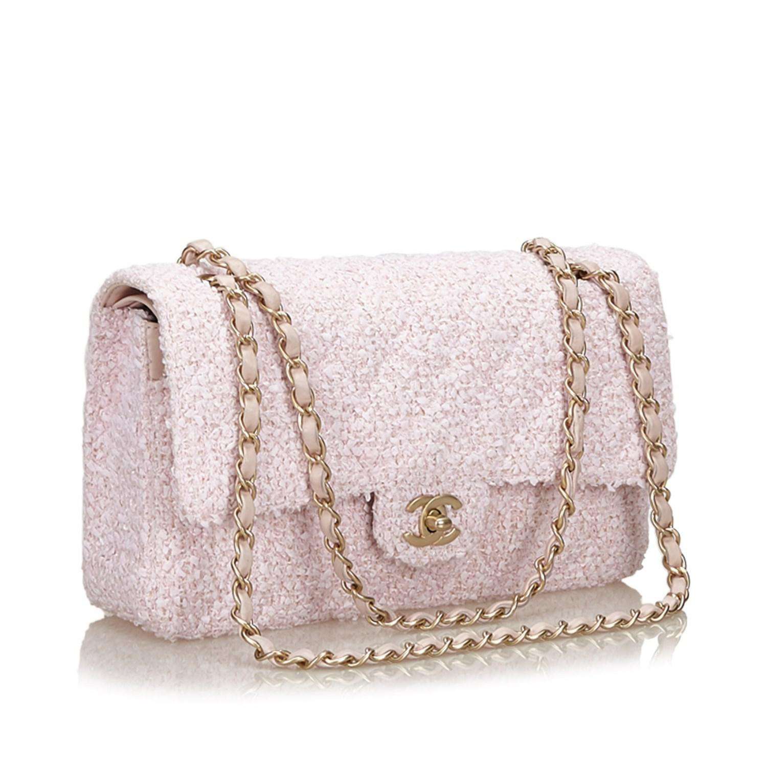 9be23dafb156 Chanel Small Classic Tweed Double Flap Bag in Pink - Lyst