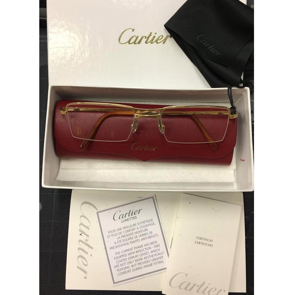 56b949624f1b Lyst - Cartier Paris Gold Titanium Semi T-double Eyeglasses T8100727 ...