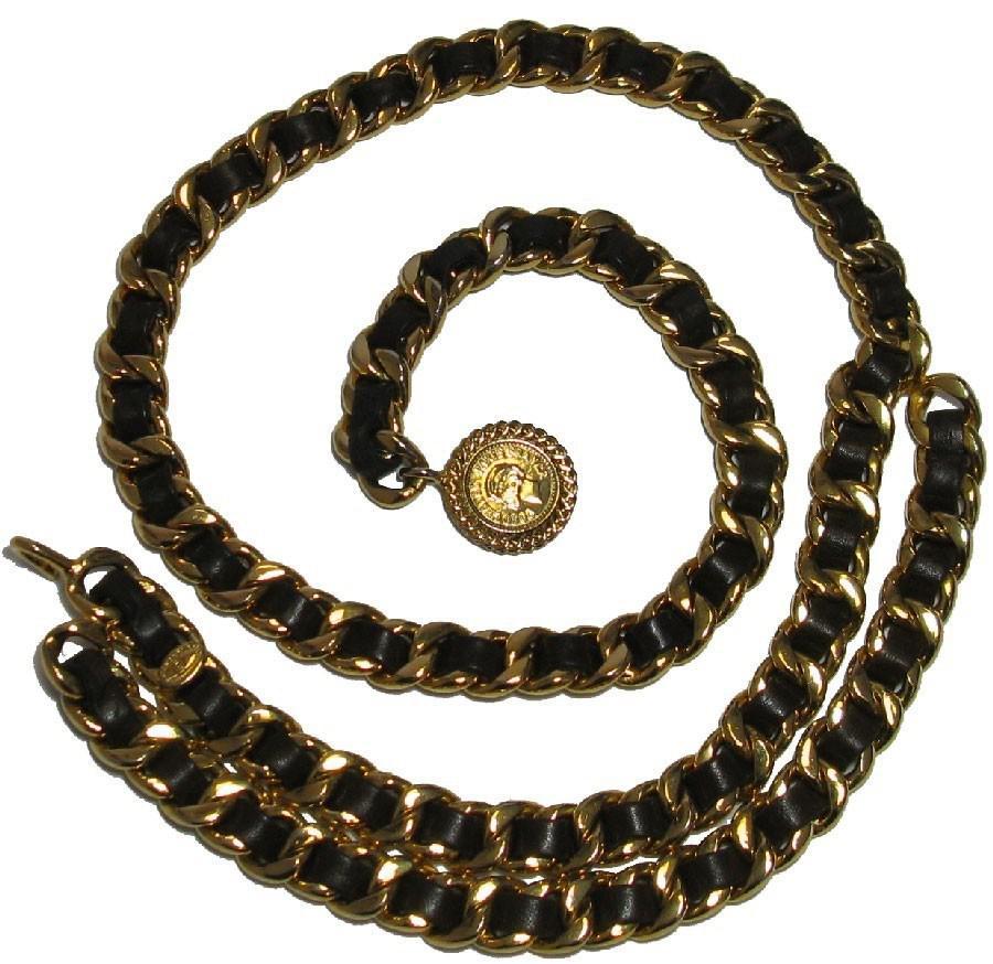 d6ecbc255076 Lyst - Chanel Ceinture Chaine Et Cuir Marron Vintage in Metallic