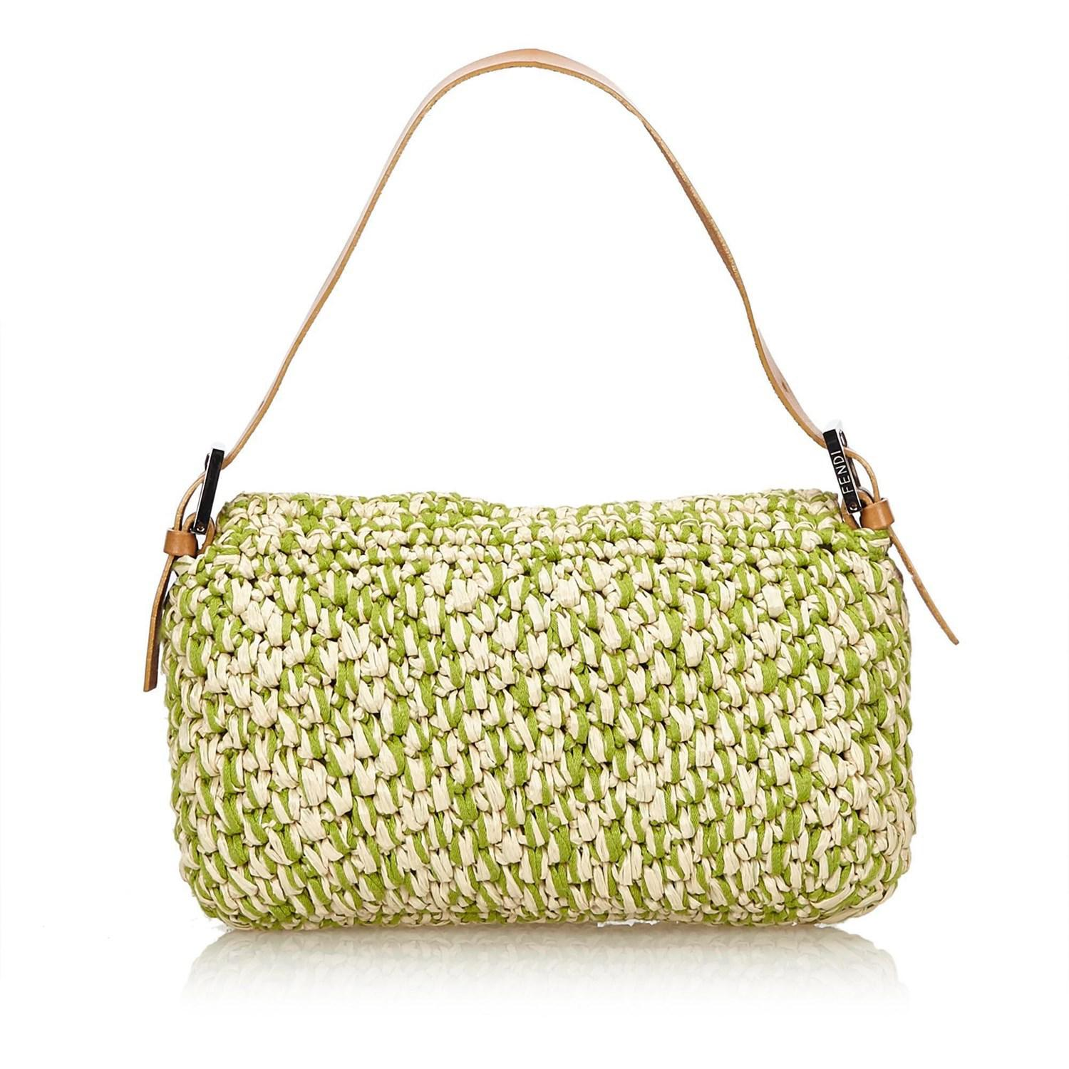 1301a53f22b8 Lyst - Fendi Straw Baguette in Green