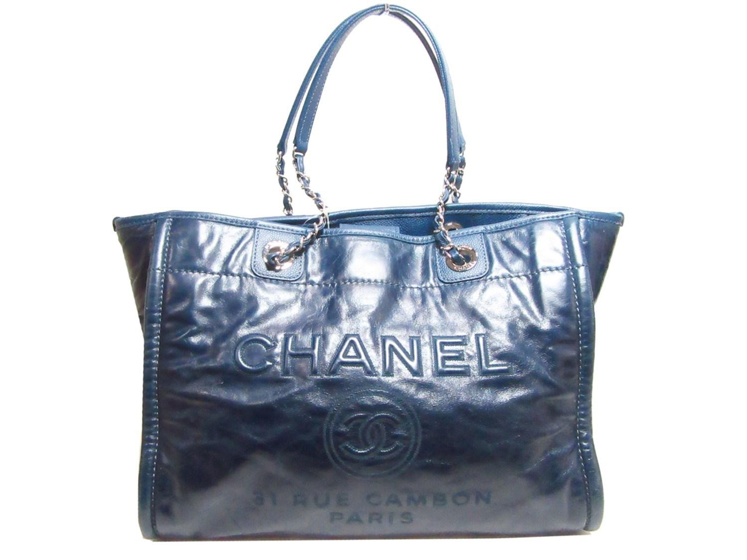 3d234519bd Chanel Deauville 2way Tote Bag Blue Leather in Blue - Lyst