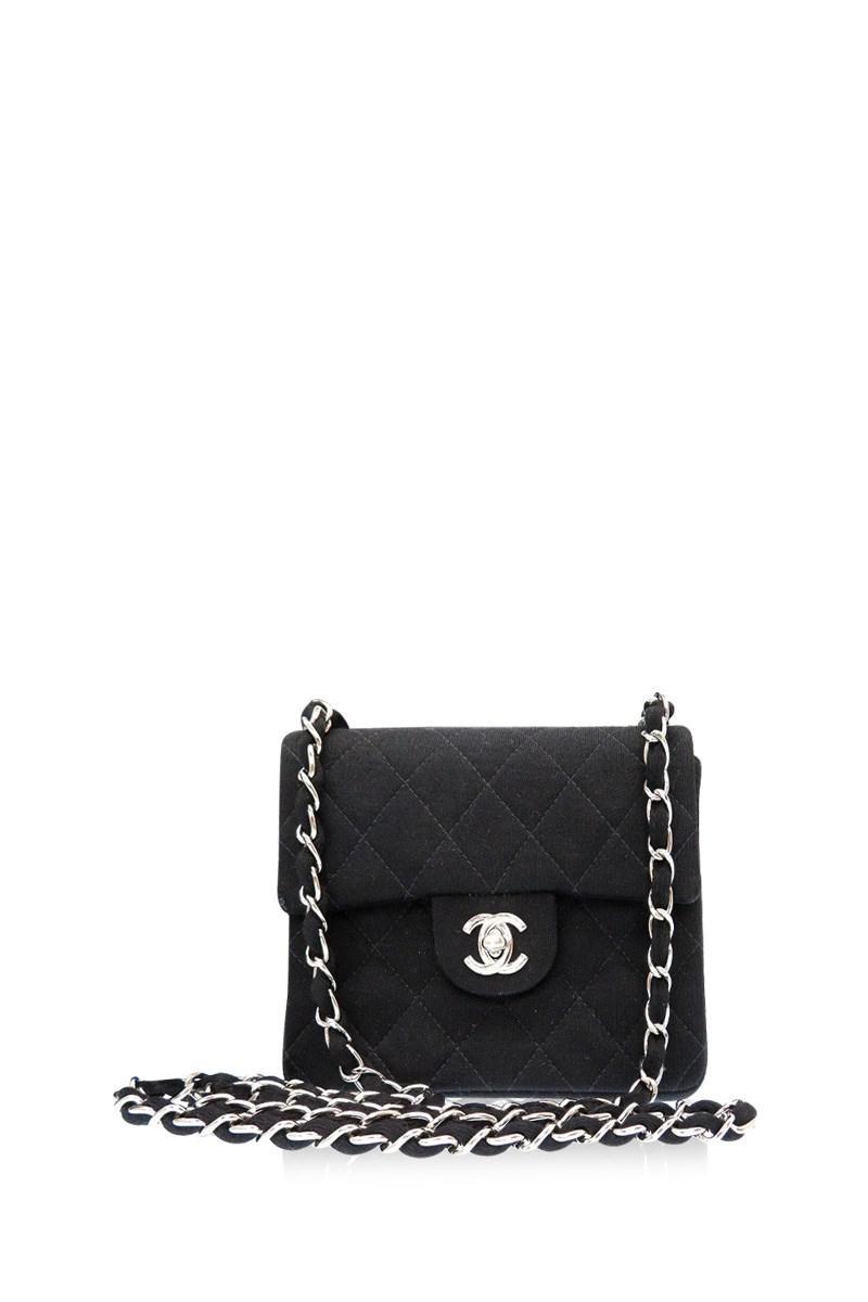 a77a7aea823 Lyst - Chanel Diagonal Hanging Mini Matelasseshoulder Bag Black ...