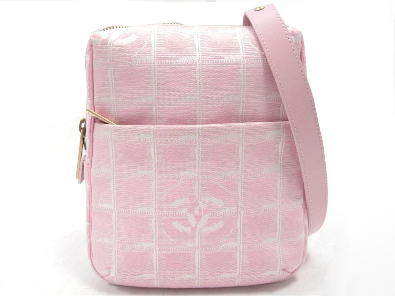 60ee4bedef5cd2 Chanel Auth New Travel Line 2way Shoulder Bag Nylon Canvas in Pink ...