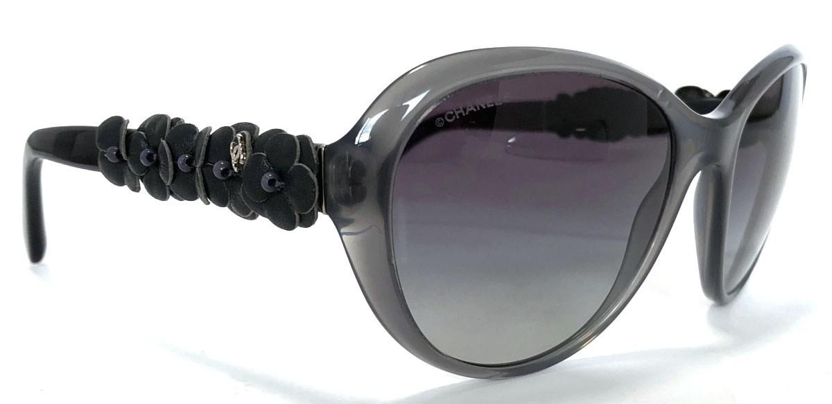 ce6e20ab93c Lyst chanel sunglasses camellia leather coco mark gray jpeg 1200x583 Chanel  5316 camellia flower collection sunglasses