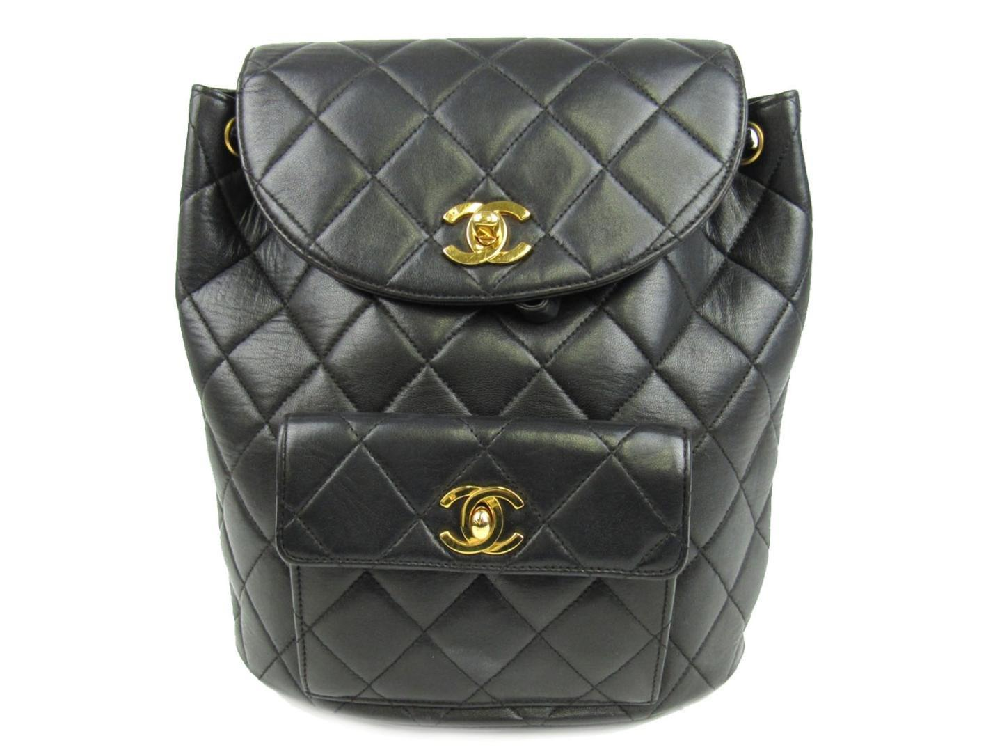 1638d95067e5 Chanel Matelasse Chain Backpack Cc Black Lambskin Leather Quilted in ...