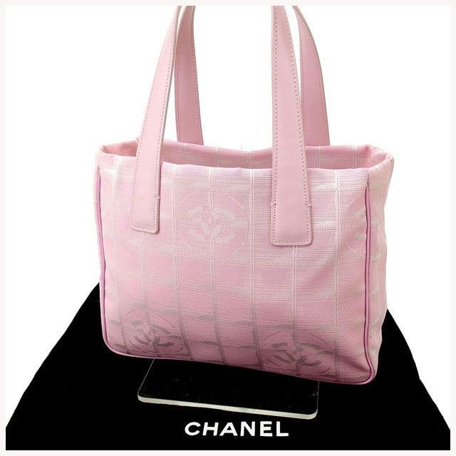 Lyst - Chanel Tote Bag New Travel Line Used Y1115 in Pink 228bc45585a68