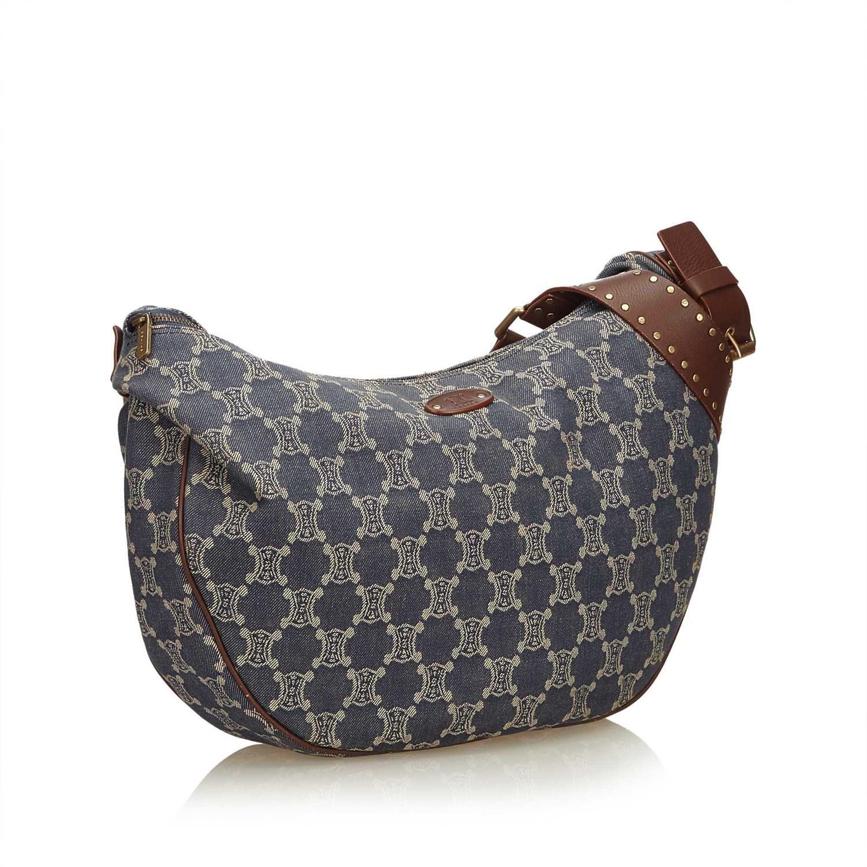 4fc80e379c Lyst - Céline Macadam Denim Shoulder Bag in Natural
