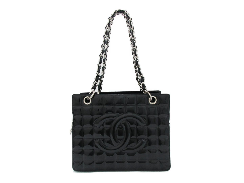 c639745ed044 Chanel Chocolate Bar Chain Shoulder Bag Enamel Leather Black Used in ...