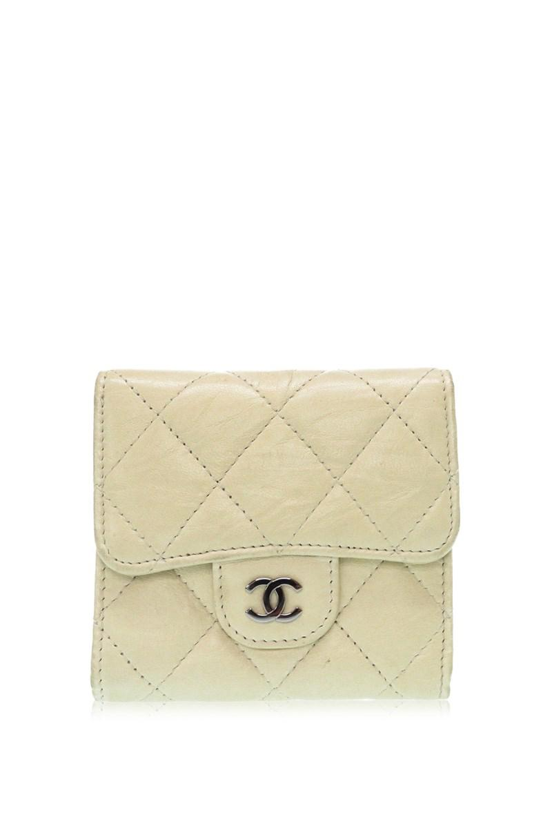 6f97f6e435bc Lyst - Chanel Matelasse Double Snap Walletbifold Wallet Creme ...