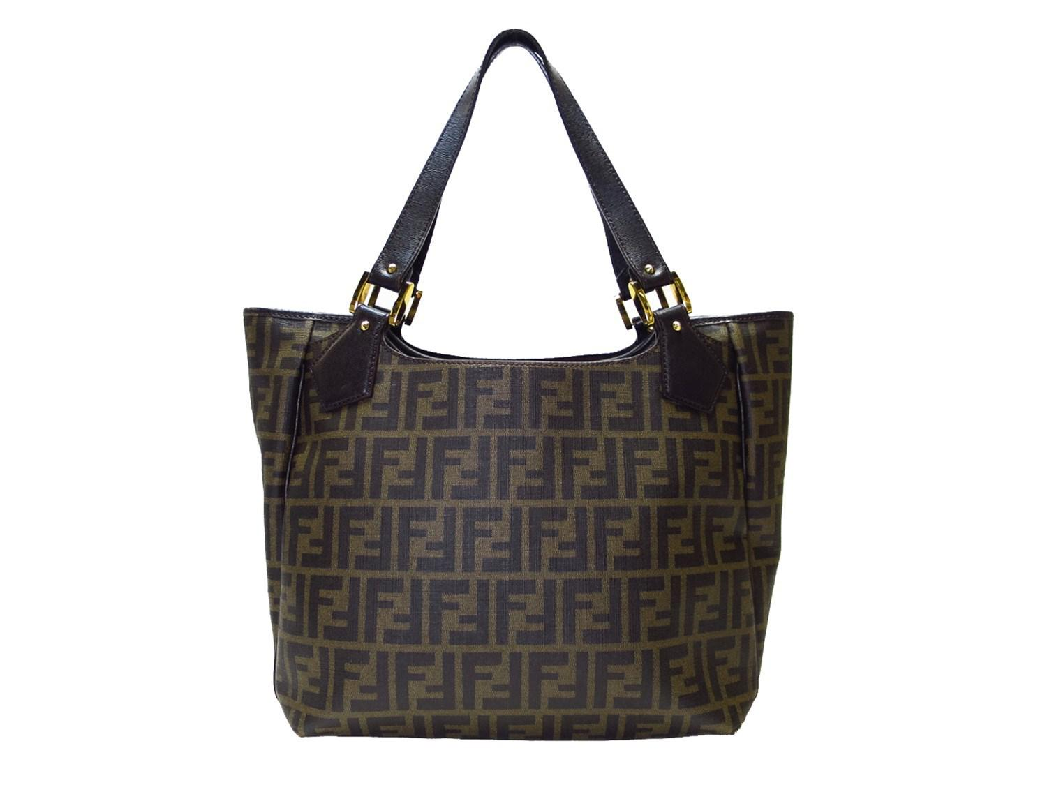Lyst - Fendi Auth Zucca Shoulder Tote Bag Brown Coated Canvas Used ... 9f39106646b3d