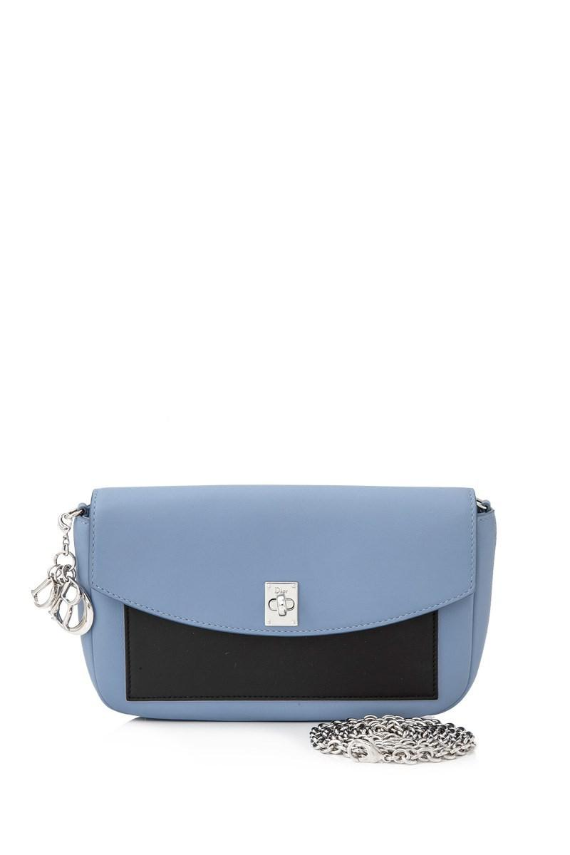 6318fa64e6 Dior Pre-owned Christian Leather Sling Bag in Blue - Lyst