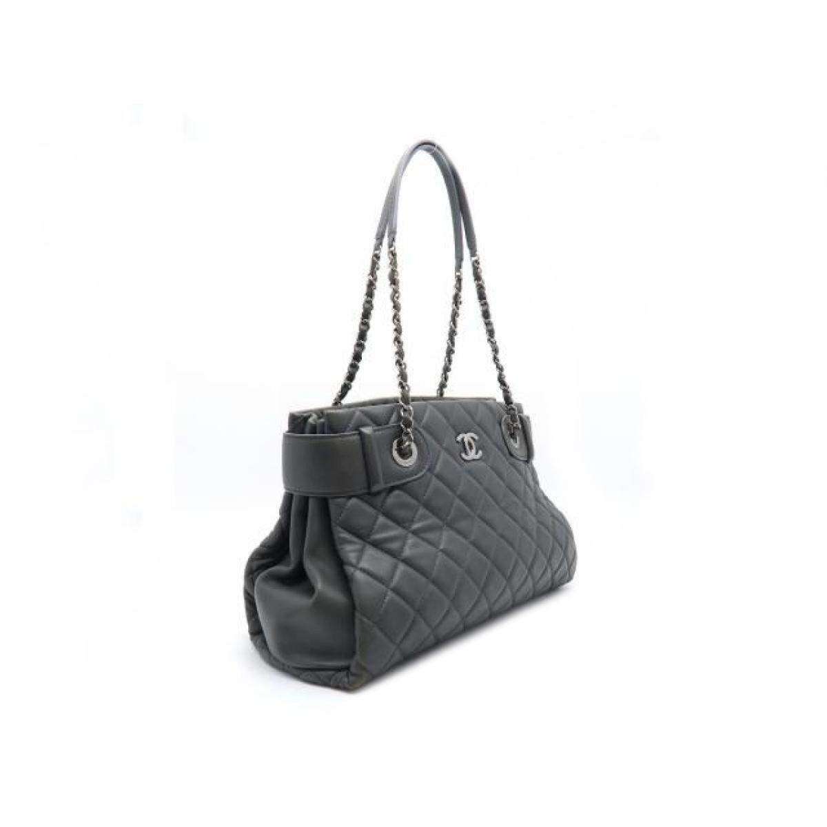 ac524fb5f5cb Chanel - Cc Mark Stitch Shw Chain Tote Shoulder Bag Lamb Leather Gray Used  Vintage -. View fullscreen