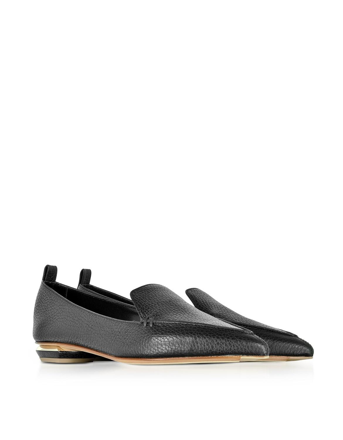 Nicholas Kirkwood Shoes, Beya Burgundy Tumbled Leather Loafers