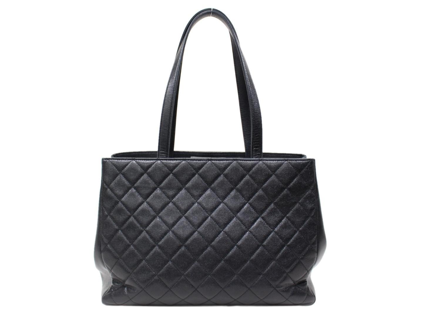 f3a757896368 Lyst - Chanel Shoulder Tote Bag Quilted Caviar Leather Black in Black