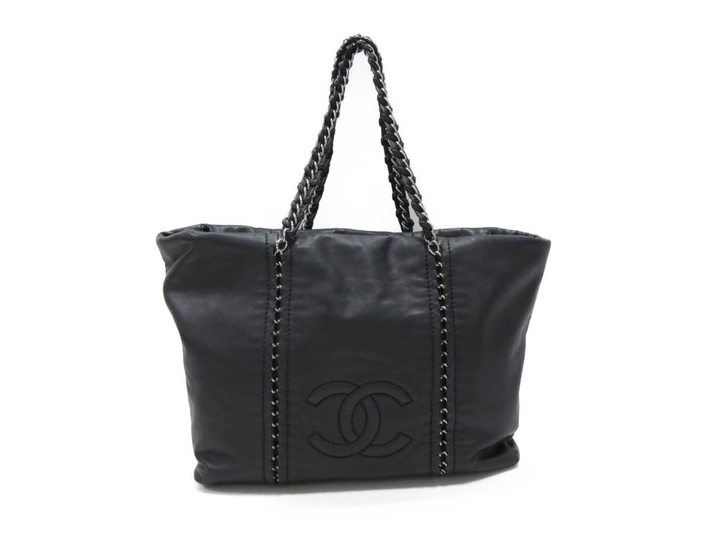93c0af3c54cb Lyst - Chanel Chain Shoulder Tote Bag Leather Black Used Vintage in ...