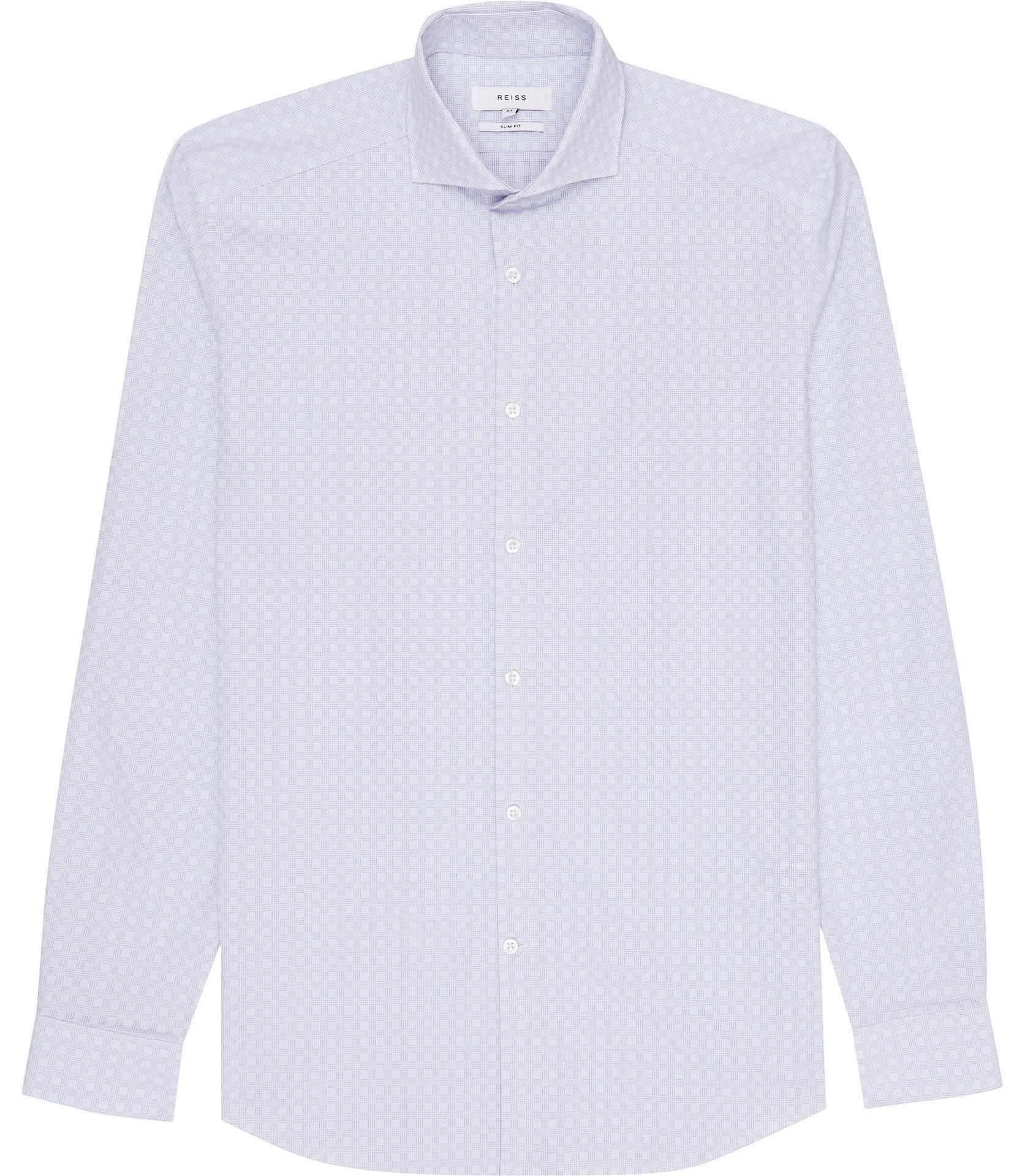 Lyst Reiss Cubit Cutaway Collar Check Shirt In Blue For Men