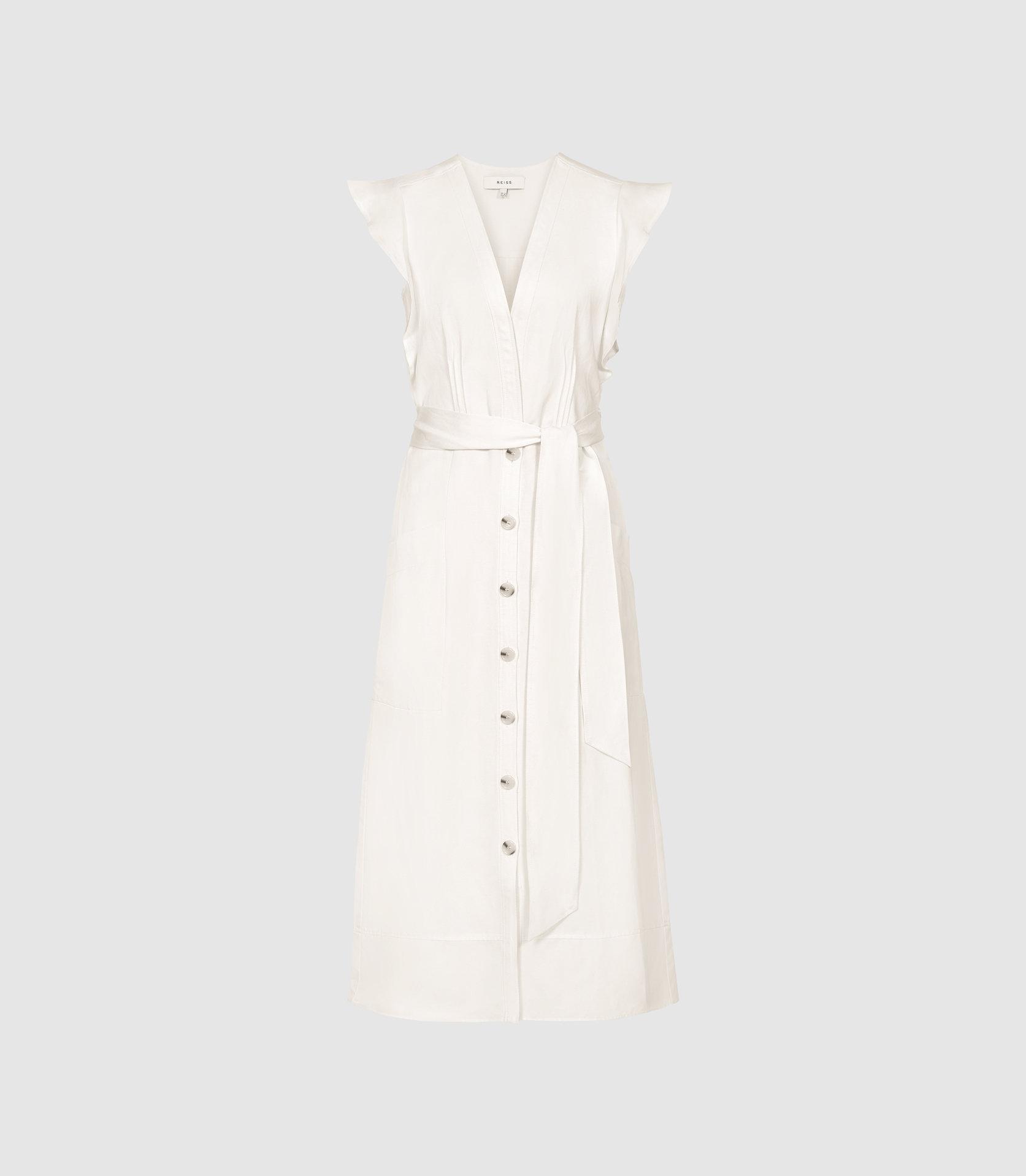 5c25378d48aa ... White Enid - Button Through Summer Dress - Lyst. Visit Reiss. Tap to  visit site