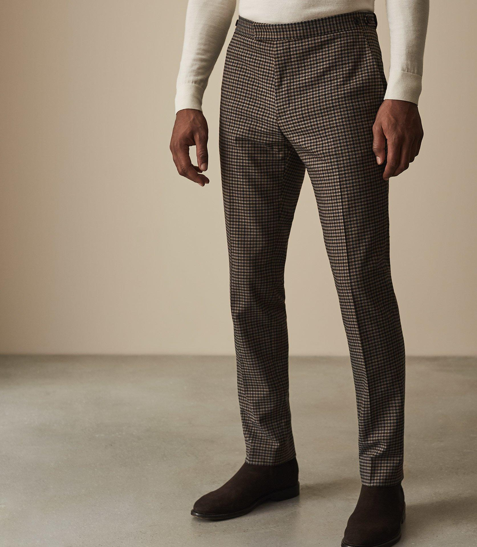 7d2efb2e0083 Lyst - Reiss Tripper - Houndstooth Checked Trousers in Brown for Men