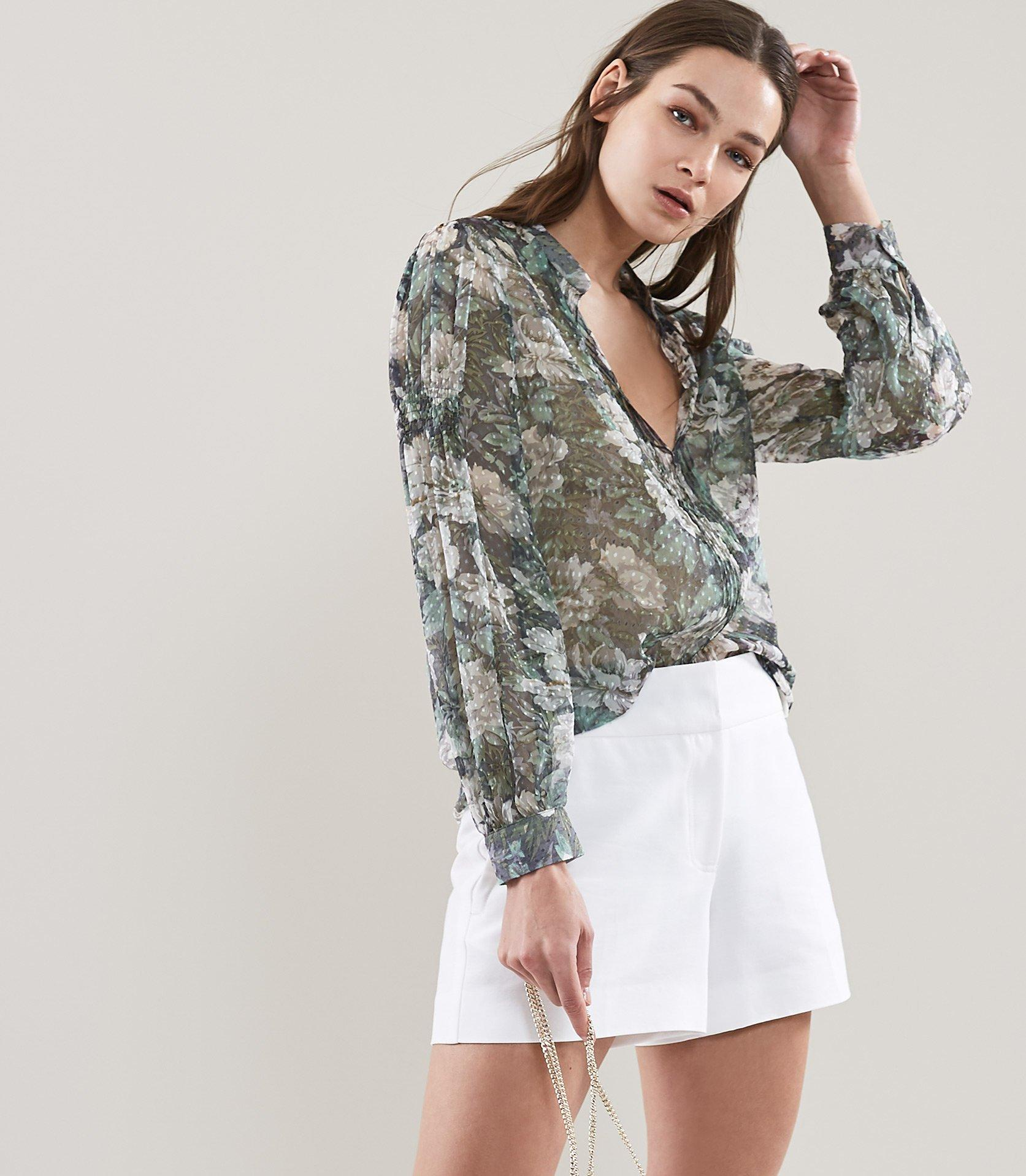 6e2d0f70f36e88 Reiss Delaney - Floral Printed Blouse in Gray - Save 50% - Lyst