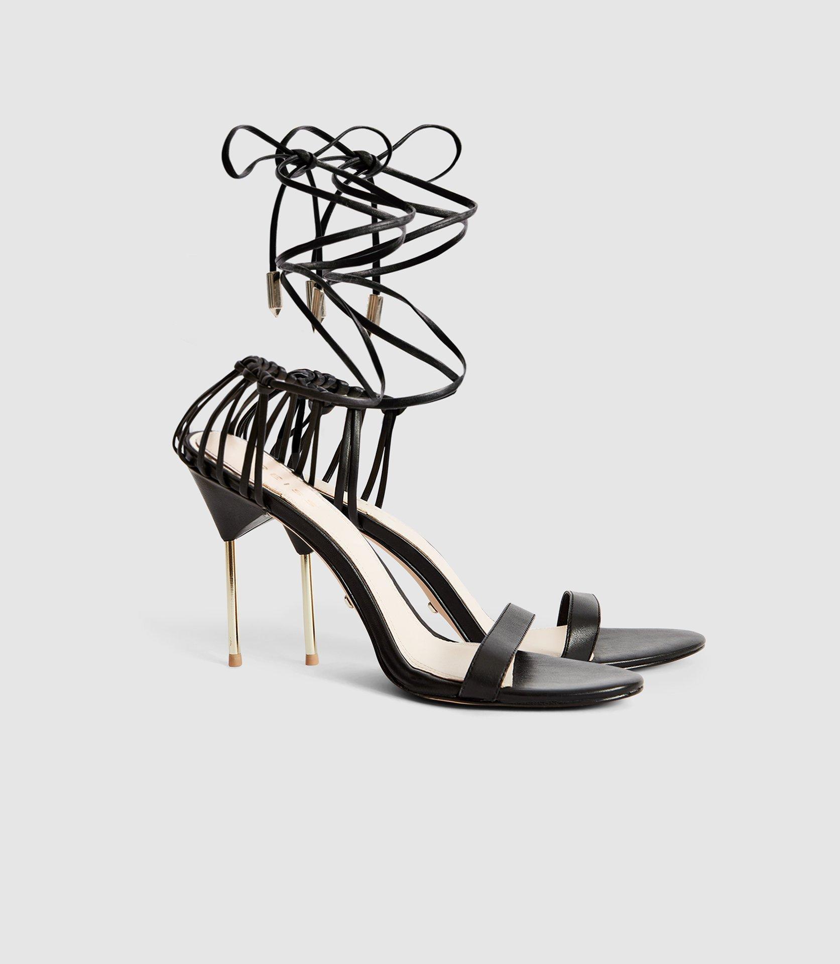 b26f93bce1 Reiss - Black Zhane - Leather Strappy Wrap Sandals - Lyst. View fullscreen
