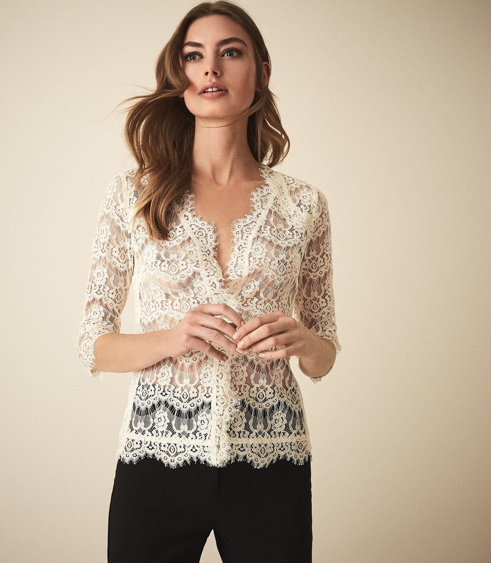 0fa8a01c9796bc Reiss Geneva - Lace Blouse in Natural - Lyst