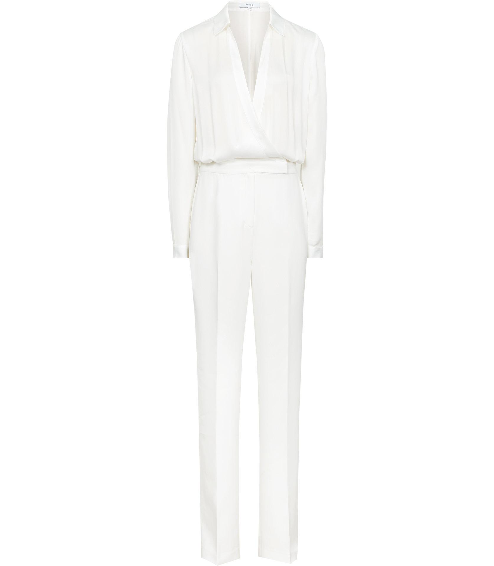 5563edd4626 Reiss Imie - Wrap-front Jumpsuit in White - Lyst