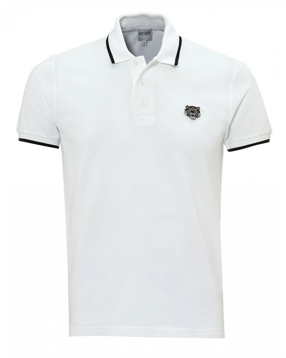 353caa97b4 KENZO Tiger Polo Shirt, Tipped Regular Fit White Polo in White for ...